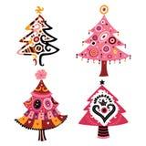 julen ställde in trees stock illustrationer