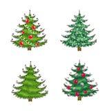 julen ställde in trees Royaltyfri Fotografi