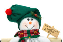 julen stänger upp den le snowmanen för garneringen Royaltyfri Foto
