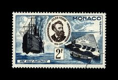 Jules Verne, famous science writer and Floating City, Monaco, circa 1955, Royalty Free Stock Image