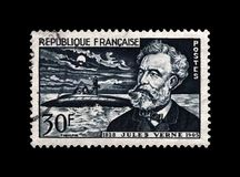 Jules Verne, scrittore famoso di scienza e sottomarino di nautilus, Francia, circa 1955, fotografia stock libera da diritti