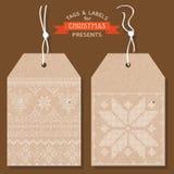 Juletiketter eller etiketter Arkivbilder