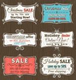 Juletiketter med försäljningserbjudandet, vektor Fotografering för Bildbyråer
