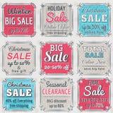 Juletiketter med försäljningserbjudandet, vektor Royaltyfri Foto