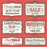 Juletiketter med försäljningserbjudandet, vektor Arkivbilder