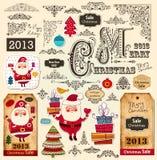 Juletiketter och julprydnadar Arkivbilder