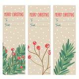 Juletikettsamling med trädfilialer och järnekbär stock illustrationer