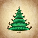 Julfärgträd med krullning Arkivbild