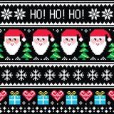Julförkläde eller sömlös modell för tröja med jultomten och gåvor