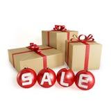 Julförsäljning med gåvor och bollar som isoleras Royaltyfria Bilder