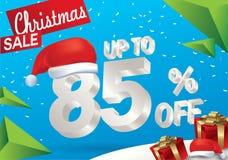 Julförsäljning 85 procent Vinterförsäljningsbakgrund med text för is 3d med det hattSanta Claus banret och snö nytt försäljningså stock illustrationer