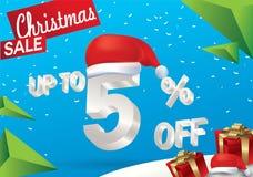Julförsäljning 5 procent Vinterförsäljningsbakgrund med text för is 3d med det hattSanta Claus banret och snö nytt försäljningsår vektor illustrationer