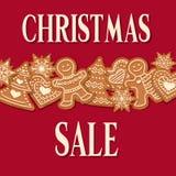 Julförsäljningsaffisch med pepparkakadesign royaltyfri illustrationer