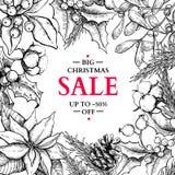 Julförsäljningsbaner i ram Drog illustrationwi för vektor hand Fotografering för Bildbyråer