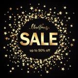 Julförsäljningsbaner med guld- stjärnor på svart bakgrund Vecto Arkivfoto