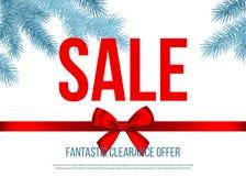 Julförsäljningsbanret med gåvapilbågen, band, försilvrar grankli royaltyfri illustrationer