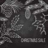 Julförsäljningsetikett på vinterbakgrund Arkivfoto