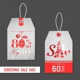 Julförsäljningsetiketter Arkivbild