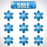 Julförsäljningsetiketter och etiketter med rabatter vektor illustrationer