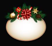 Julförsäljningstecknet med gran förgrena sig, satängpilbågen, godisrottingen, gi royaltyfri bild