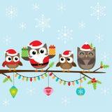 Julfamilj av ugglor vektor illustrationer