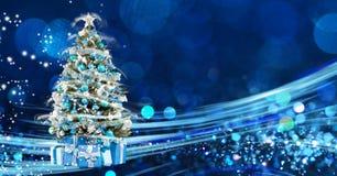 Julferie som blinkar abstrakt bakgrund hristmasträd arkivfoton