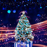Julferie som blinkar abstrakt bakgrund hristmasträd arkivbilder