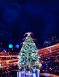 Julferie som blinkar abstrakt bakgrund hristmasträd arkivfoto