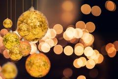 Julferiebakgrund över vinterbokeh Royaltyfria Bilder