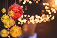 Julferiebakgrund över vinterbokeh Arkivfoton