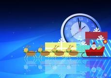 Julferiebakgrunder med Santa Claus och renen Arkivfoto