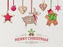 Julferiekort med gullig lantlig stil, hand drog hängande prydnader royaltyfri illustrationer
