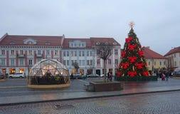 Julferier och stad Hall Square i Vilnius Royaltyfri Fotografi