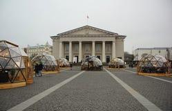 Julferier och stad Hall Square i Vilnius Arkivfoto