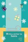 Julferievykort - skriv ett brev till Santa Claus - gåvaillustration - vektor stock illustrationer