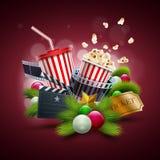Julfilmbegrepp royaltyfri illustrationer