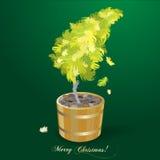 julfjädrar gjorde treen Arkivbild