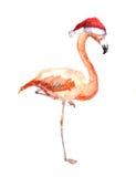 Julflamingo i röd santa& x27; s-hatt Vattenfärgfågel Arkivfoto