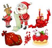 Julflashcard med jultomten och prydnader Arkivbilder