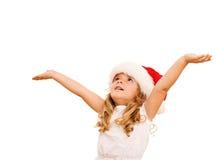 julflicka little som väntar Arkivbilder