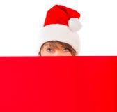 Julflicka med det röda plakatet på vit Royaltyfria Bilder