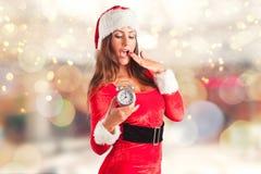 julflicka santa Fotografering för Bildbyråer