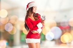 julflicka santa Royaltyfria Bilder