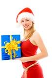 julflicka som rymmer aktuellt nätt royaltyfri fotografi