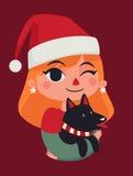 Julflicka som rymmer hennes hund Fotografering för Bildbyråer
