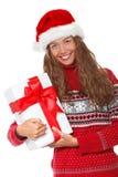 Julflicka, ung härlig le ung kvinna i H för santa ` s Royaltyfri Foto