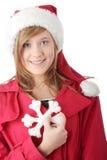 julflickahatt teen nätt santa Royaltyfria Bilder