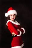 julflickan semestrar det nya santa året Arkivfoton