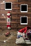 Julfotoet inramar vykort Fotografering för Bildbyråer