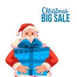Julförsäljningsbaner med tecknade filmen Santa Claus som rymmer en ask Royaltyfri Fotografi